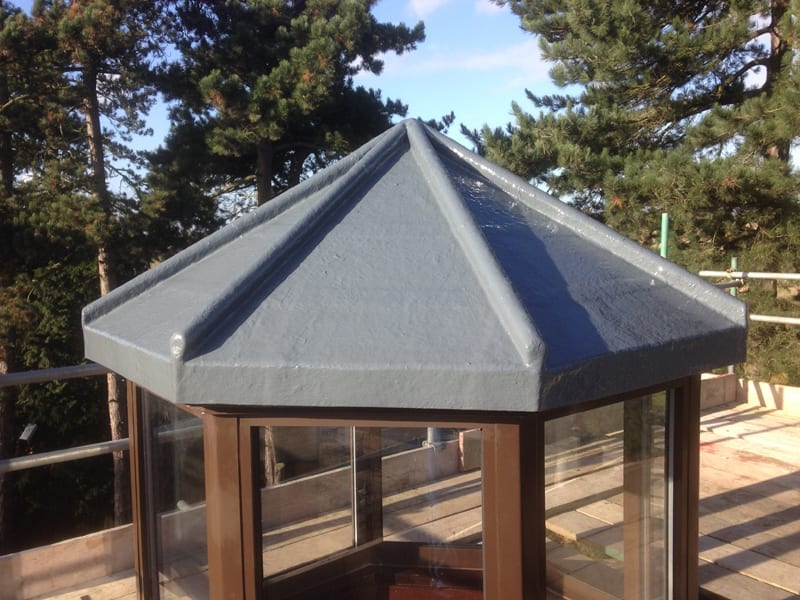 Roof Replacement on a cone style roof using GRP roofing meterials in grey