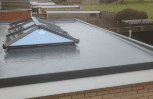 Fibreglass Flat Roofing with roof light in grey