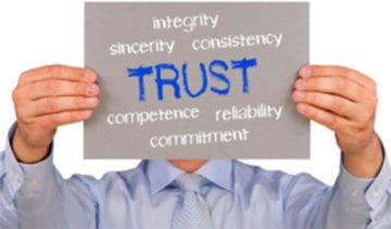 Business Reviews and trust factors sign