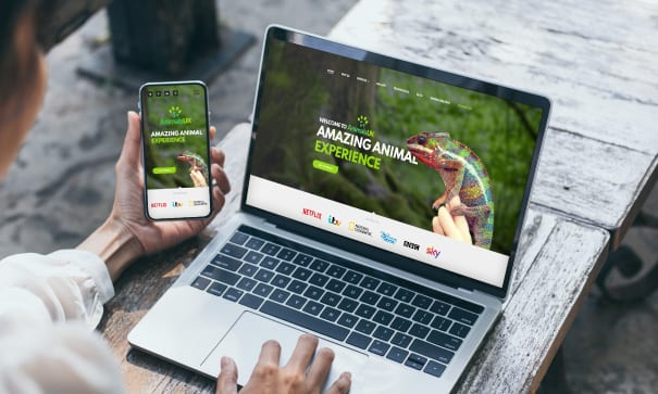 Animals UK website design on laptop and mobile devices